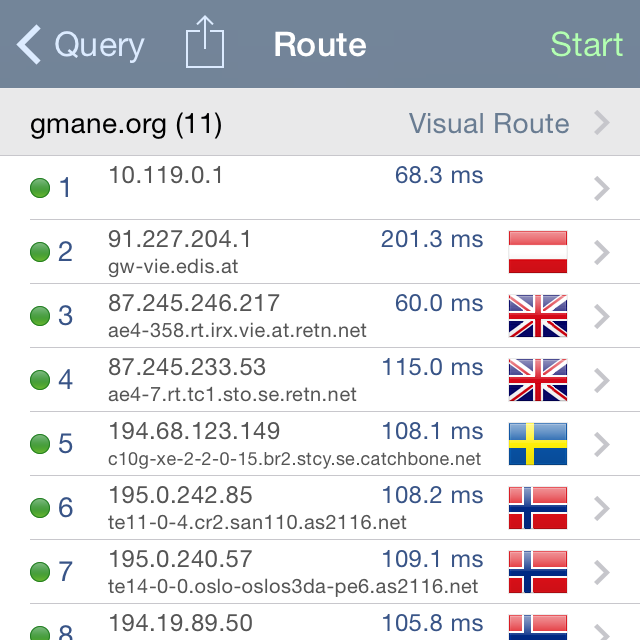 Network Analyzer App - Traceroute