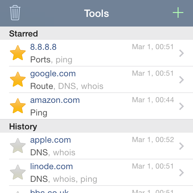 Network Analyzer App - Query history