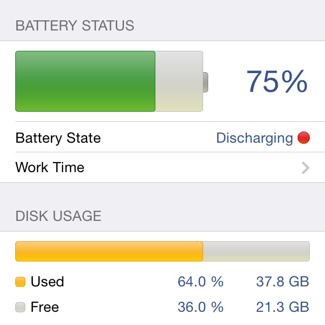 System Status App - Battery and disk monitoring